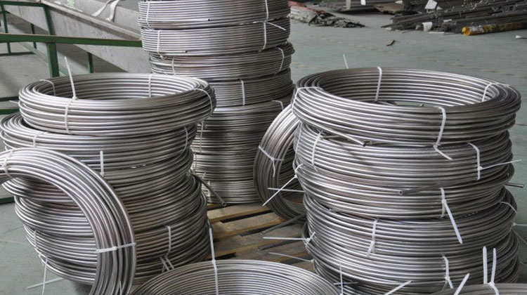 Original Photograph Of Stainless Steel Coiled Tubes At Our Warehouse, Mumbai